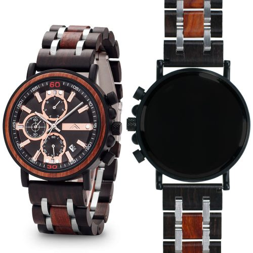 Mahogany and Walnut Wood Watch - Matte Black Titanium Chronograph Watch