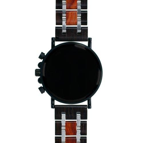 Mahogany and Walnut Wood Watch - Matte Black Titanium Chronograph Watch Back