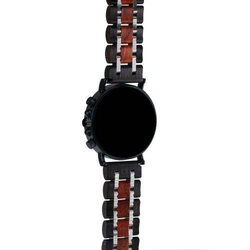 Mahogany and Walnut Wood Watch - Matte Black Titanium Chronograph Watch Back Side